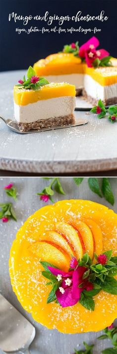 awesome Vegan mango and ginger cheesecake is a great no bake cheesecake celebrating summer flavours. It's easy and quick to make, gluten-free and oil-free too. Read More by benadikta Desserts Crus, Raw Vegan Desserts, Vegan Treats, Vegan Foods, Healthy Desserts, Raw Food Recipes, Sweet Recipes, Healthy Recipes, Raw Vegan Cake