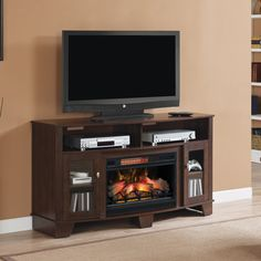 ClassicFlame La Salle TV Stand for TVs up to Midnight Cherry (Electric Fireplace Insert sold separately) -- To view further for this item, visit the image link. (This is an affiliate link and I receive a commission for the sales) Electric Fireplace Media Center, Stone Electric Fireplace, Wall Mount Electric Fireplace, Electric Fireplaces, Fireplace Inserts, Fireplace Mantels, Fake Fireplace, Innovation, Living Room Furniture Arrangement