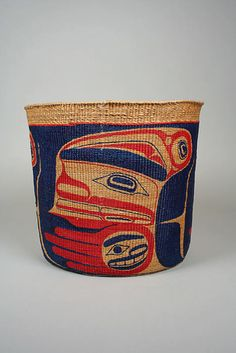 Basket (c.1983) by Canadian Haida basketmaker Robert Davidson & artist April Churchill. Plant fiber, pigment, 8.75 x 10.5 in. via the Met, NYC