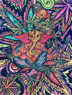 Trippy drugs buddha elephant
