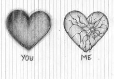 I want you to draw the broken heart but only the broken one and much larger for my birthday. Sad Drawings, Art Drawings Sketches, Sad Sketches, Broken Heart Drawings, Broken Heart Art, Cool Heart Drawings, Broken Heart Tattoo, Really Cool Drawings, I'm Broken