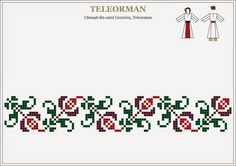 Semne Cusute: cusaturi traditionale romanesti - MUNTENIA - Teleorman Cross Stitch Borders, Cross Stitch Charts, Cross Stitching, Cross Stitch Patterns, Folk Embroidery, Embroidery Stitches, Embroidery Patterns, Fair Isle Chart, Cross Stitch Needles