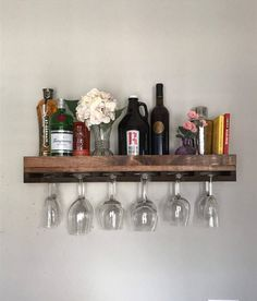 30 FLOATING low back Rustic Wood Wine Rack Shelf &
