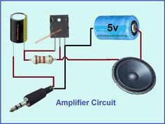 In this article we are going to show you a simple audio amplifier circuit. Circuit diagram of the based audio amplifier is shown in the given. Electronics Projects, Simple Electronics, Electronic Circuit Projects, Electrical Projects, Electronic Engineering, Electronics Components, Ingenieur Humor, Electrical Circuit Diagram, Electronic Schematics