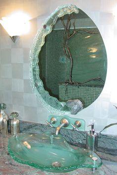 Modern Glass Sink Ideas for Bathroom so that Different from Others - Dream Home Design, My Dream Home, House Design, Dream Bathrooms, Dream Rooms, Minimalist Bathroom Furniture, Modern Bathroom, Small Bathroom, Retro Interior Design