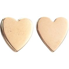 Jennifer Meyer Rose Gold Heart Stud Earrings ($350) ❤ liked on Polyvore