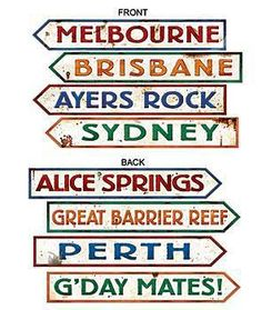 Australia city signs help bring the Outback atmosphere to any party! Australian Street Sign Cutouts come in a package of 4 assorted signs. Perth, Brisbane, Melbourne, Sydney, Australian Party, Australian Animals, The Wombats, World Thinking Day, Alice