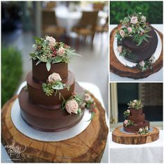 natural flowers atop of mexican chocolate wedding cake | Angelica Peady Photography