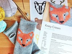 Knitty Critters! Jessica Joy's colour charts for a fox, wolf, badger, bear, etc