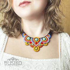 Beaded gypsy necklace Colorful ethnic bib necklace Embroidered jewelry boho style African women fashion Stylish multicolor tribal accessory by BusikoUA on Etsy