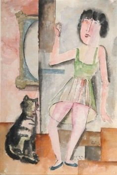 Jankel Adler, 'Girl and Cat'via