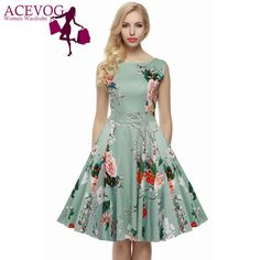 ACEVOG Brand S - 4XL Women Dress Retro Vintage 1950s 60s Rockabilly Floral Swing Summer Dresses Elegant Bow-knot Tunic Vestidos - http://fashionfromchina.net/?product=acevog-brand-s-4xl-women-dress-retro-vintage-1950s-60s-rockabilly-floral-swing-summer-dresses-elegant-bow-knot-tunic-vestidos