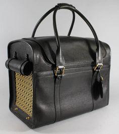 Black Leather Ralph Lauren Dog Carrier.