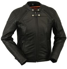 Womens Updated Vented Racer Style Motorcycle Jacket by First Mfg, FREE SHIPPING! http://www.mymotorcycleclothing.com/