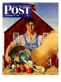 """""""Fall Bounty,"""" Saturday Evening Post Cover, September 25, 1943 Giclee Print at AllPosters.com"""