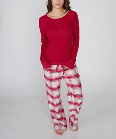 4cf7554f9d49 kathy ireland Raspberry Plaid Pajama Set