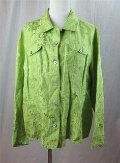 72942bb2038690 Chico S Womens Blouse Shirt Lime Green Silk Linen Blend Size 3 16 18 X  Large