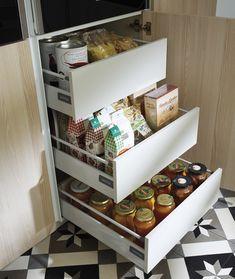 Home - Clysa Bungalows, Cabinet Drawers, Kitchen Cart, French Door Refrigerator, Interiores Design, Shoe Rack, Kitchen Appliances, Organization, Cabinets