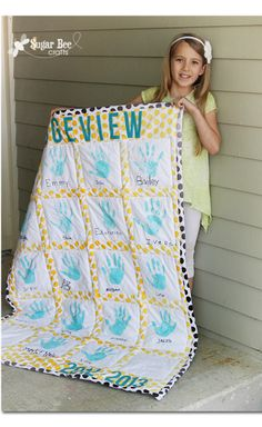 Details on a Handprint Quilt - perfect gift for a first year teacher!