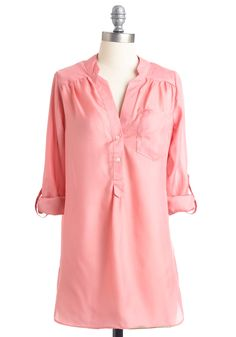 Pam Breeze-ly Tunic in Baby Pink - Long, Work, Casual, Pink, Solid, Pockets, Long Sleeve, Buttons, Spring