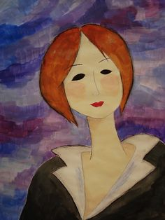Modigliani-style portraits for 6th graders