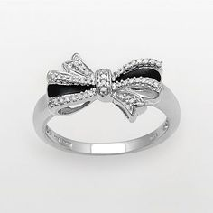 Sterling Silver 1/10-ct. T.W. Diamond Bow Ring
