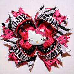 "4"" Hello Kitty Hot Pink Black Zebra Polka Dots Stacked Hair Bow"