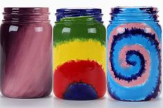 Magical Tie-Dye Mason Jars  @FreeKidsCrafts