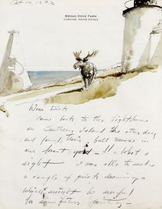 """Andrew Newell Wyeth-""""LETTER TO RICHARD CARR"""" Andrew Wyeth Art, Jamie Wyeth, Nc Wyeth, Watercolor Landscape, Watercolor Art, Artist Biography, Watercolor Animals, Art Auction, Artists"""