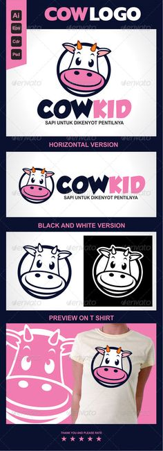 Cow Logo Template Cowkid — Photoshop PSD #fun #kid • Available here → https://graphicriver.net/item/cow-logo-template-cowkid/5715274?ref=pxcr