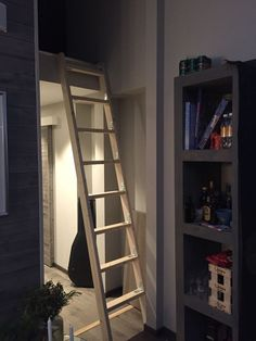 Cool folding stairs I designed Cabin Loft, Tiny House Cabin, Loft Room, Bedroom Loft, Space Saving Staircase, Building Stairs, Attic Design, Loft Spaces, Staircase Design