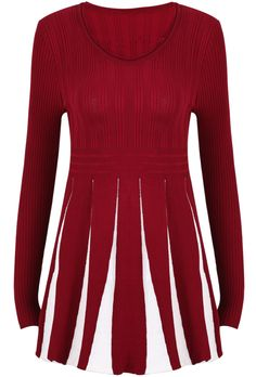 Super Cute Red with White Vertical Stripes Sweater Dress - Pair this with black booties or cute flats. (They also have this in black or navy)