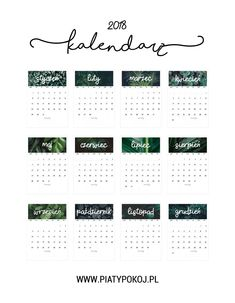 darmowy kalendarz 2018 Poster Prints, Posters, Calendar, Printables, How To Plan, Words, Bullet Journals, Blog, Ux Design
