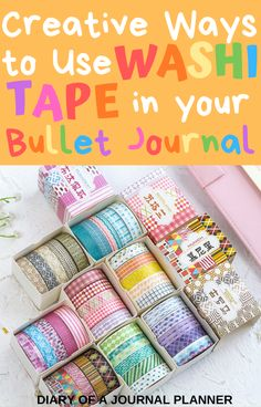 The ultimate list of the best ideas and uses for washi tape in your bullet journal, with 40 creative ideas! From spreads, to layoutas to covering mistakes! Bullet Journal Washi Tape, Bullet Journal Contents, Bullet Journal Banner, Bullet Journal Layout, Bullet Journal Inspiration, Journal Ideas, Bullet Journal For Beginners, Bullet Journal Hacks, Bullet Journal How To Start A