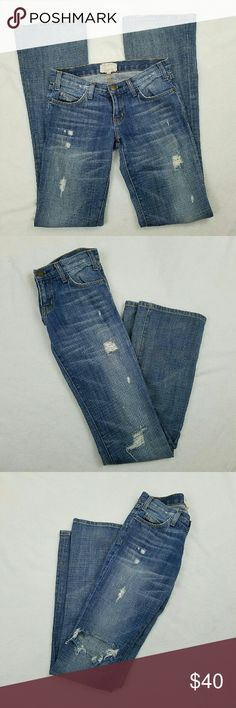 """☇SALE Current Elliott Distressed Bootcut Jeans Women's Current Elliott Bootcut Jeans  Distressed  Size 24  Gently used EUC - Material tag was removed but feels like 100% cotton   Measurements laying flat:  Waist: 14.5""""  Inseam: 35""""  Rise: 7.5"""" Current/Elliott Jeans Boot Cut"""