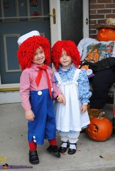 Raggedy Ann and Andy Costumes - 2012 Halloween Costume Contest Sister Halloween Costumes, Twin Halloween, Halloween Costume Contest, Cute Costumes, Pop Culture Halloween Costume, Creative Halloween Costumes, Halloween Costumes For Kids, Costume Ideas, Halloween 2017