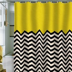 Graphic black, white and yellow shower curtain