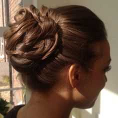 Wedding bridal curly curls up style hair bun textured brunette