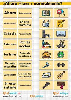 ¡Qué viva el español!: Presente vs. pretéritos Elementary Spanish, Teaching Spanish, Education, Madrid, Ideas Para, Games, Spanish Vocabulary, Gift, Spanish Worksheets