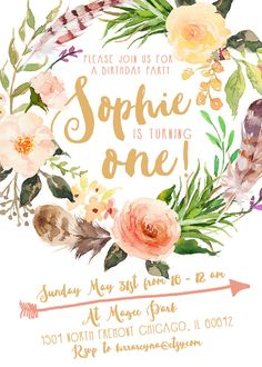 Boho Birthday Invitation Girl, Feather, Flower Wreath, Arrow, Watercolor Invitation