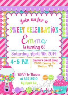 Lollipop Invitation Candyland Invitation Candyland Birthday