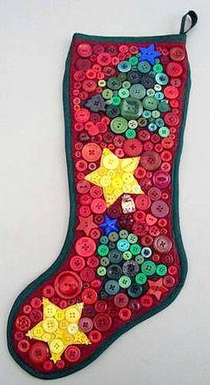 Calza della befana con i bottoni colorati