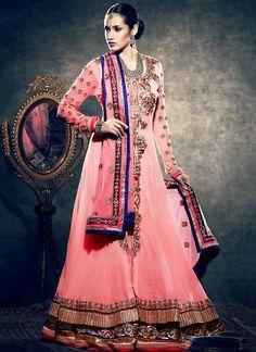 Fab Light Pink Net Lehenga Choli