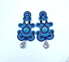 Soutache bleu marine - boucles Unique Clip longue boucles d'oreilles - Soutache brodé boucle d'oreille - Clip - boucles d'oreilles - longues - Soutache Clip
