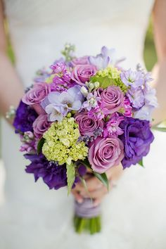 Green and Purple Wedding Ideas | Purple and green bouquet View More: http://katelynjames.pass.us/julie ...