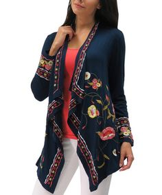 Look at this #zulilyfind! Navy Embroidered Kiara Open Cardigan - Plus by Caite #zulilyfinds