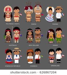 People in national dress. Polynesia (Tahiti) Samoa Panama Australia New Zealand Hawaii Dominican Republic Dominica Greenland. Set of pairs dressed in traditional costume. Tahiti, Panama Culture, Costumes Around The World, World Thinking Day, Dresses Australia, En Stock, Dominican Republic, Westerns, New Zealand