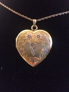 Antique Marked STURDY 12K GF Heart Locket Necklace Pendant Early 1900's #Locket