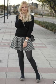 Stylish outfit idea to copy ♥ For more inspiration join our group Amazing Things ♥ You might also like these related products: - Vests ->. Pantyhose Outfits, Black Pantyhose, Black Tights, Nylons, Fashion Tights, Tights Outfit, Fashion Outfits, Womens Fashion, Quoi Porter