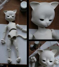 Cat clay doll